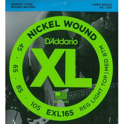 D'Addario EXL165 045-105 Nickel Wound Reg Light Top/Med Btm bas strings