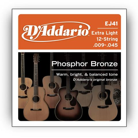 D'Addario EJ41 009-045 Phosphor Bronze Extra Light 12-String acoustic guitar strings