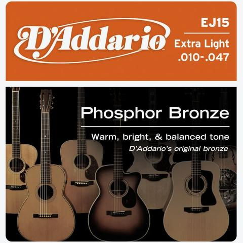 D'Addario EJ15 010-047 Phosphor Bronze Extra Light Gauge acoustic guitar strings