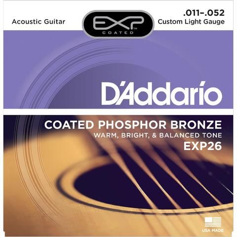 D'Addario EXP26 011-052 Coated Phosphor Bronze Custom Light Gauge acoustic guitar strings