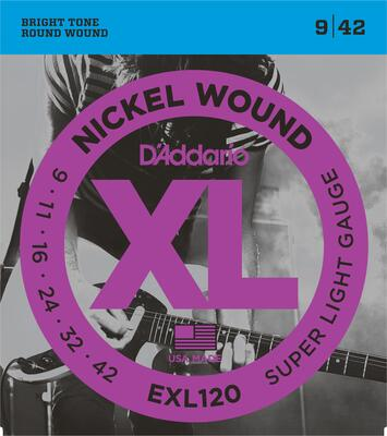 D'Addario EXL120 009-042 Nickel Wound Super Light Gauge electric guitar strings