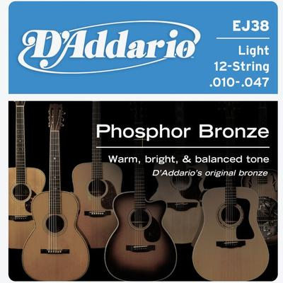 D'Addario EJ38 010-047 Phosphor Bronze Light 12-String acoustic guitar strings