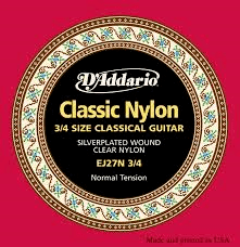 D'Addario EJ27N 3/4 029-044 Clear Nylon Normal Tension classical guitar strings